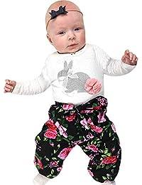 ce3d0c99ff Pascua Ropa Bebé Niña Niño Verano 3Pcs Camiseta de Manga Largo Conejo  Romper + Pantalones Florales + Diadema Trajes para Bebés Niños 0-18…
