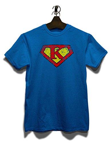 K Buchstabe Logo Vintage T-Shirt Royal Blau