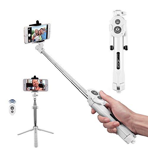 Bluetooth Selfie Stick, Alfort Multifunktionaler Selfie Stangen Erweiterbar Ausfahrbar Stab mit Stativ und Bluetooth Fernbedienung für iPhone 7 / 6S / 6 Plus / SE / 5S / 5C / 5, Samsung Galaxy S7 / S7 Edge, LG G6, HTC M9 M8, Sony Z5 Z4 Z3 Compact, Android und andere Smartphones ( Weiß )