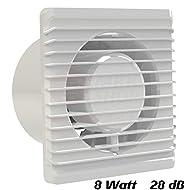 Ventilatore da bagno, diametro 125mm, in bianco MKK-Planet ventilatore caricamento muro ventola bagno ventola ventilatore a incasso Ventola bagno cucina, silenzioso, 12,5cm