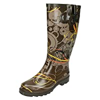 Ladies Spot On Swirl Design Wellington Boots X1159