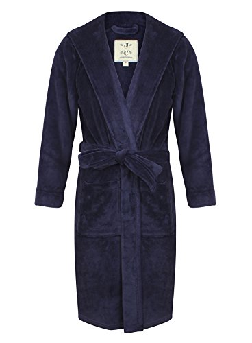 Robe de Chambre en Polaire Doux à Capuche, Chaud, Bleu Marine - Homme (L)