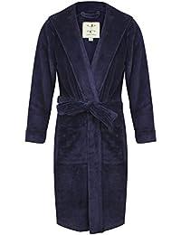 Robe de Chambre en Polaire Doux à Capuche, Chaud, Bleu Marine - Homme