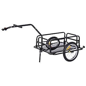 41LsX2VukoL. SS300 homcom Carrello per Bicicletta Rimorchio Cargo Bici Trasporto di Oggetti Pieghevole Portata 36kg 156x72x82cm
