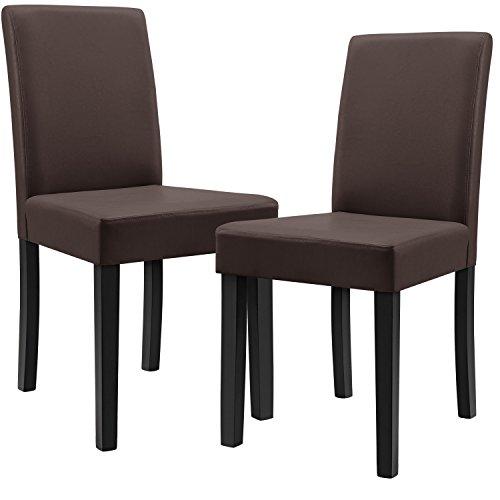 [en.casa]®] 2 sillas tapizadas (marrón - Mate) (Alta Calidad) con Patas de...