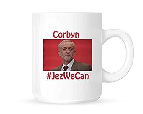 Jez We Can - Jeremy Corbyn Picture With Red Background on Novelty Tea/Coffee Mug/Cup - Gift Idea
