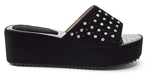AgeeMi Shoes Damen Rund Zehe Nubuk Flip Flop Keilabsatz Plattform Sandalen,EuL11 Schwarz 40