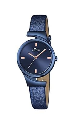 Lotus-Reloj de cuarzo para mujer con azul esfera analógica y azul correa de piel 18345/1