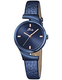 Lotus – Reloj de cuarzo para mujer con azul esfera analógica y azul correa de piel 18345/1