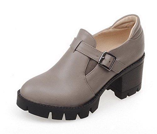 VogueZone009 Femme Rond Tire Pu Cuir Couleur Unie à Talon Correct Chaussures Légeres Gris