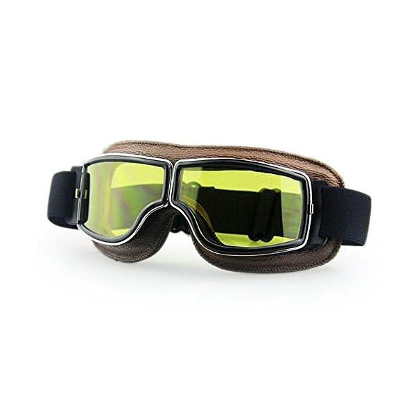 Masque moto Biker Marron et verres jaune 1