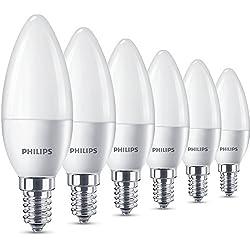 Philips - Pack de 6 bombillas de luz de vela LED, casquillo fino E14, luz blanca cálida