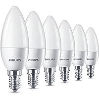 Philips Lampadine LED Candela, E14, 5.5 W Equivalenti a 40 W, 2700 K, Luce bianca calda, Confezione da 6