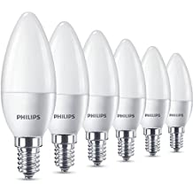 Philips LED (5,5W (40W) Bombilla de luz de vela (rosca Edison pequeña E14, Blanco cálido, Escarchado–Pack de 6,, E14, 5. Watts, 6unidades)