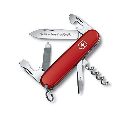 ORIGINAL Victorinox Couteaux de poche modèle Sportsman avec personnels GRAVURE SUR lame gravé avec logo Motifs caractères ou graphique fin laser-gravure 0.3803