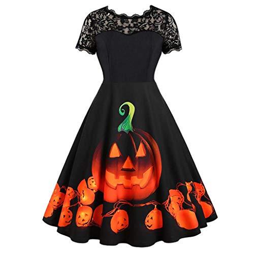 serliyDamen Vintage Kleider,Halloween Frauen Kurzarm V-Ausschnitt Druck Vintage Kleid Partykleid Langarm Loose Kleid blusenkleid Kurzarm bedrucktes - Baby Blue Ivy Kostüm