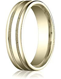 14ct Yellow Gold, 6mm Comfort-Fit Polished Milgrain Round Edge Band (sz H to Z5)