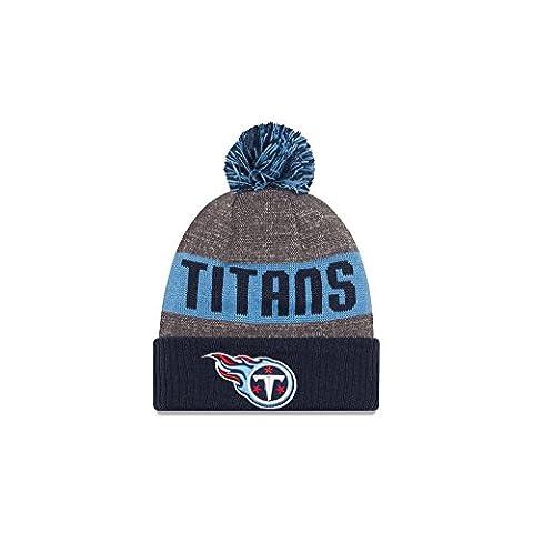 New Era Nfl Sideline Bobble Knit Tentit Otc - Casquette ligne Tennessee Titans pour Homme, couleur Bleu, taille OSFA