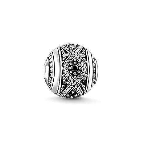 Thomas Sabo Femmes Hommes-Bead Love Knot Karma Beads Argent Sterling 925 noirci Pavé d'Oxydes de Zirconium noirs K0237-643-11