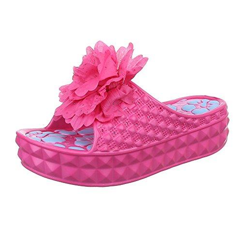 Damen Schuhe, MDL-6350, SANDALEN PANTOLETTEN Pink