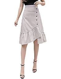b99ca0b75de Faldas Mujer Verano Elegante Cintura Alta Fashionista A Cuadros con  Volantes Skinny Medium Largos Falda Ropa