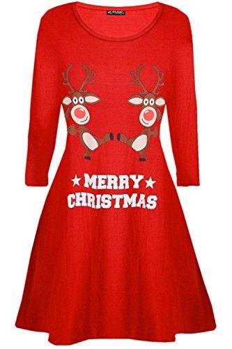 ta Rentier Wall Schneeflocken Kostüm Weihnachten Swing Kleid UK Übergröße 8-26 - tanzende Rentier rot, S/M (UK 8/10) (Weihnachten Kleid Frauen)