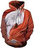 EUDOLAH Damen Sweatshirts Langarm 3D Druck Unisex Weihnachten Bunt mit Aufdruck Winter Warm A-Oranger Fuchs S/M