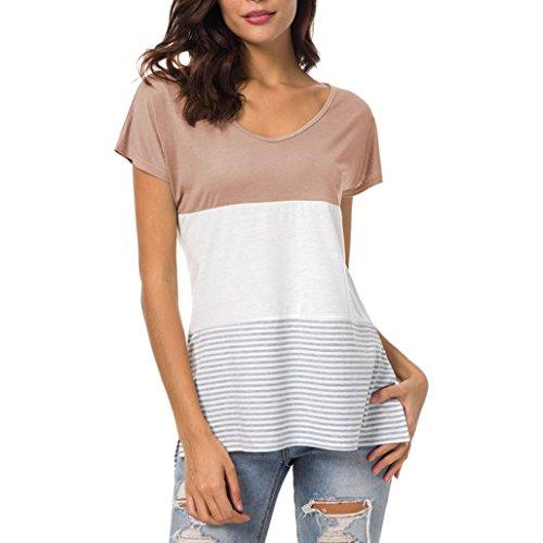 OverDose Damen Kurzarm Mode Tops Block Streifen T-Shirt Casual Bluse Frauen Kausal T-Shirt Sommer Oberteile - Blöcke Hoodie