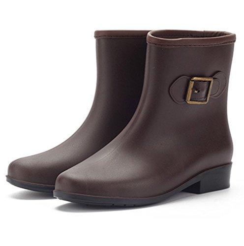 Wasser-Stiefel, KENO Elegante wasserdichte Stiefel / Gummi-Stiefeletten für Frauen, geeignet für schlechte Wetter- oder Gartenarbeit, etc. - Braun, Größe 39
