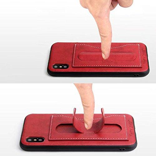 Uniqstore Leder Phone Hülle mit Halterung Etui Case Multifunktion für iPhone X Grün Rot