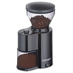 Cloer 7520 elektrische Kaffeemühle mit Kegelmahlwerk für 2-12 Tassen und 300 g Kaffeebohnen, 150 W, verstellbarer Mahlgrad, schwarz