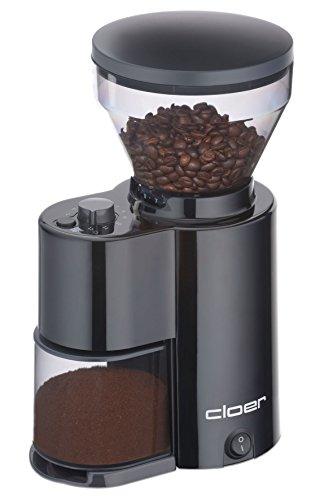 Cloer 7520 elektrische Kaffeemühle mit Kegelmahlwerk für 2-12 Tassen und 300 g Kaffeebohnen, 150...