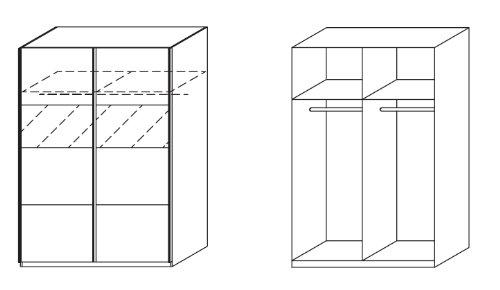 rauch Schwebetürenschrank Chica mit Milchglas grau-metallic/alpinw, 2-TÜRIG,B/H/T CA.181/197/62CM