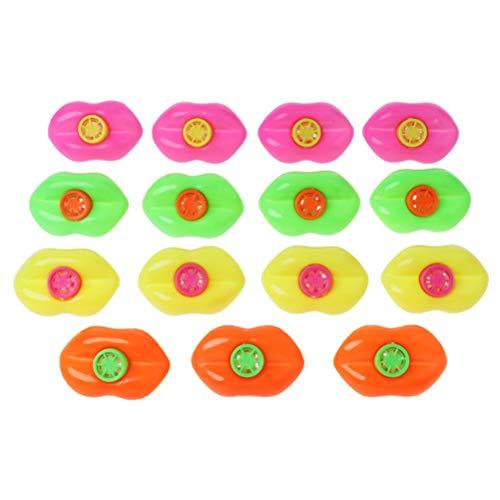 Egosy 15 Stücke Lippen Pfeife für Kids Party bevorzugt Plastik-noisemakers Kunststoff Lip Whistle Birthday Party Favors Kinder Pfeife Nette Lip Party Krachmacher Kinder Geschenk Zufällige Farbe -
