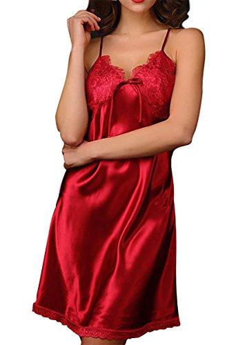 Aivtalk Sexy Femme Satin Robe de Nuit Dentelle Col-V Elégant Nuisette Vêtement/Chemise de Nuit Peignoir Lingerie Pyjama Violette Rouge