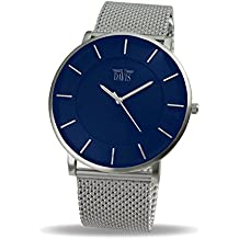 Davis 0915MB - Reloj Diseño Unisex Azul-Cuarzo-Cuadrante Extra plano-Correa Acero Mesh