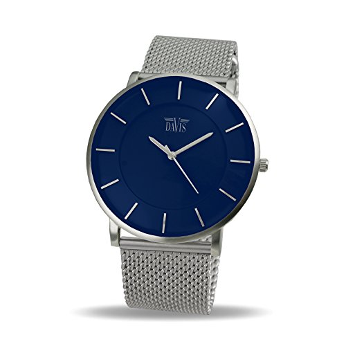 Davis 0915MB - Mens Womens Design Ultra Thin Watch Blue Dial Mesh Milanese Strap