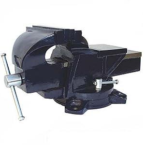Silverline 580468 Tornillo de Banco con Base Giratoria, Capacidad: 120 mm / 8 kg