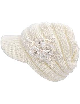 Moda mujeres invierno cálido de punto sombrero gorra Boina de esquí al aire libre para mujer con visera Blanco