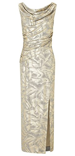 Cecily Gold Foil Printed Jersey Maxi Dress