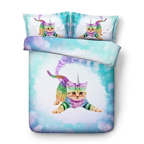 3 Teilig Leicht Blau Grau Lila Galaxis Funkeln Star Bettbezug Set, 3D Katze Einhorn Tier Süß Kitty Bettwäsche Set zum Doppelbett (Kitty 3, 180x220cm)
