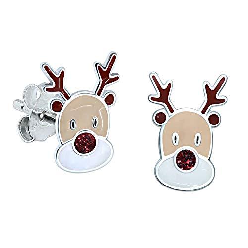 Rentier-Ohrringe, Sterlingsilber–Roter Glitzer–Weihnachten (Und Strümpfe Weihnachten Rot Gold)