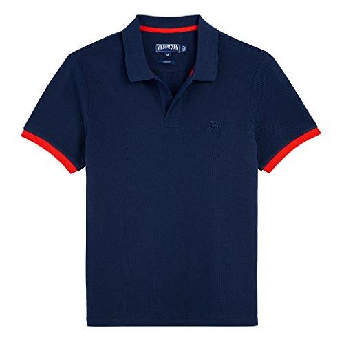 Vilebrequin - Einfarbiges, langärmliges Polohemd aus Baumwollpikee - Jungen  Marine / Rot