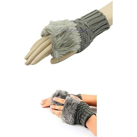 NdB 1624 - [KHAKI] Guanti senza dita con Pellicciotto - Eleganti e Raffinati - Polsiera Elasticizzata - Inverno Autunno - Mani Libere - Adulto Bambina