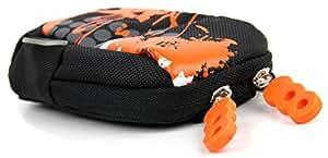 Housse étui orange / noir pour caméra embarquée / caméscope Sony FDR-X1000V / FDR-X1000VR et HDR-AS200V, résistant à l'eau et passant de ceinture + tour du cou - DURAGADGET