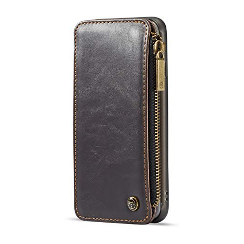 TechCode iPhone 7 Plus/8 Plus Wallet Case, Magnetische abnehmbare Premium Luxury PU-Leder Retro Vintage Smart Zipper Wallet Folio-Schutzhülle mit Kartensteckplätzen und Geldtasche Brieftasche Etui Luxury Wallet Case