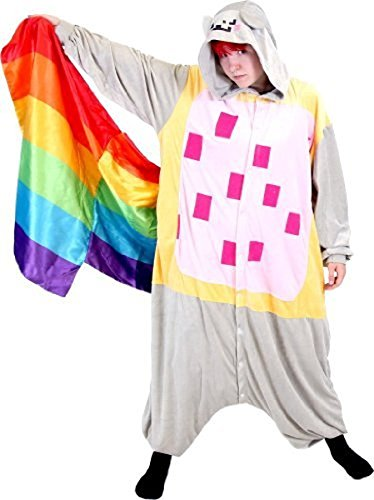 Kostüm Cat Nyan (Nyan Cat Meme Space Rainbow Tail Kostüm Hooded Kigurumi One Piece)