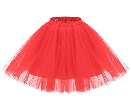 Aysimple Damen Kurz Tutu Tüllrock Petticoat Tütü Ballerina Tüll Rock Karneval FGasching Kostü Party Rot (Damen Maus Minnie Rock)