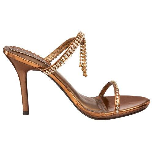 Pleaser Sandaletten Stiletto Enchant-02 Goldstrass Bronze Met Pu