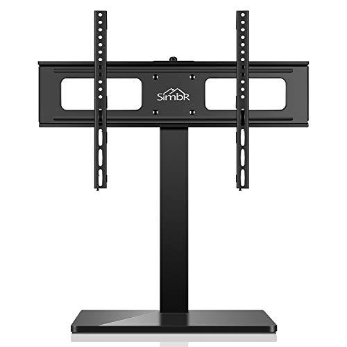 TV Ständer, SIMBR TV Standfuß, schwenkbarer und höhenverstellebarer TV Standfuss, Fernsehständer, TV-Halterung Ständer, Flachbildschirm Aufsatz Rack Tischständer mit 3 Höheneinstellungen für LED, LCD Plasma Curved TVs von 27 bis 65 Zoll,für Max.VESA 600x400